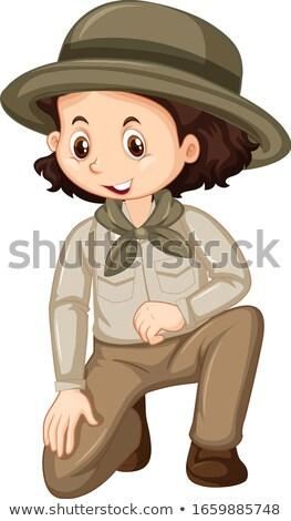 Menina safári uniforme sessão branco ilustração Foto stock © bluering