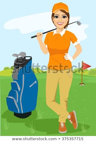 Ritratto femminile golfista golf bandiera Foto d'archivio © Kzenon