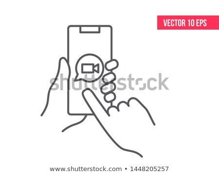 Hand holds the smartphone with WhatsApp application on the screen. Flat vector modern phone mock-up  Stock photo © karetniy