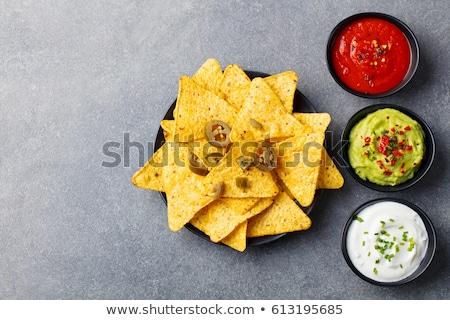 Mexicano nachos batatas fritas tequila salsa molho Foto stock © karandaev