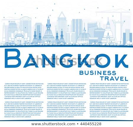 Schets Bangkok skyline Blauw exemplaar ruimte Stockfoto © ShustrikS