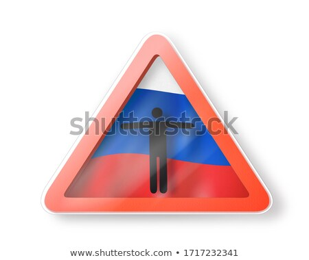 Warning sign with white man's figure on the Russian flag. Stock photo © artjazz