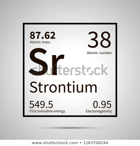 Strontium chemical element with first ionization energy, atomic mass and electronegativity values ,s Stock photo © evgeny89