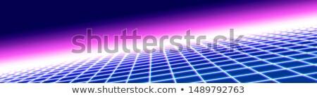 Blue perspective grid on purple, 3d dimension retro futurism concept Stock photo © evgeny89