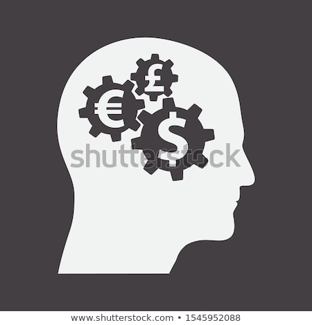 Connected Gears And Money Sigh In Man Avatar Profile View Photo stock © Supertrooper