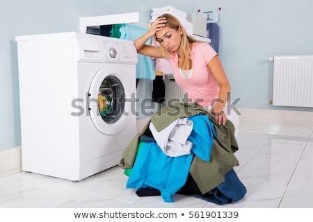 çamaşır makinesi üzücü hayal kırıklığına uğramış kadın Afrika komik Stok fotoğraf © AndreyPopov
