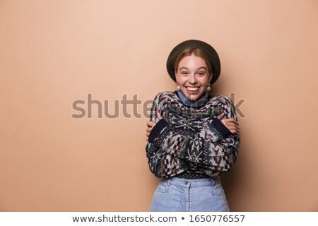 Fotografia dość zadowolony kobieta kolczyki Zdjęcia stock © deandrobot