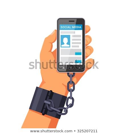 Social media verslaving vector metafoor mensen smartphones Stockfoto © RAStudio