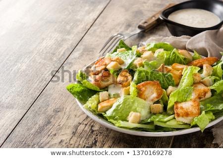 vlees · sla · bladeren · schimmelkaas · plaat · salade - stockfoto © keko64