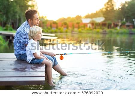 Father child lake Stock photo © elenaphoto