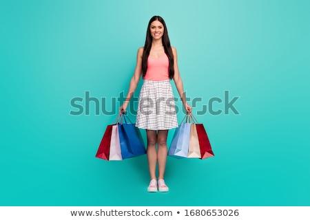 Turquoise shopping bag isolated over white. Stock photo © jaykayl