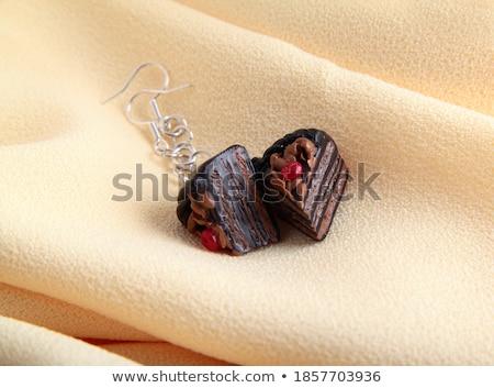Fashion earrings with chocolate cake Stock photo © ozaiachin