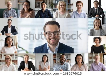 Chamar mulher jovem isolado branco mulher sorrir Foto stock © iko