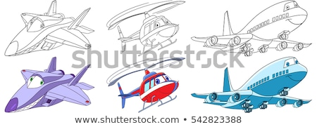 The set of the colored flying helicopters Stock photo © perysty