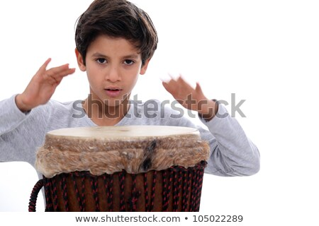 schoolboy with jumbo drum Stock photo © photography33