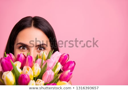 Beautiful brunette peeking out. Stock photo © lithian
