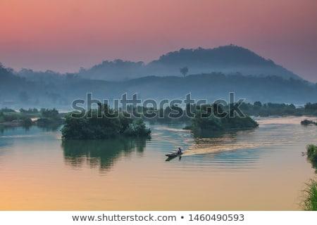 rivier · Laos · nat · seizoen · wolken · Blauw - stockfoto © iTobi