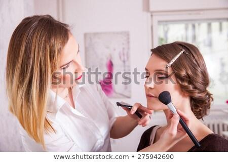 блондинка · составляют · молодые · небольшой · зеркало · женщину - Сток-фото © konradbak