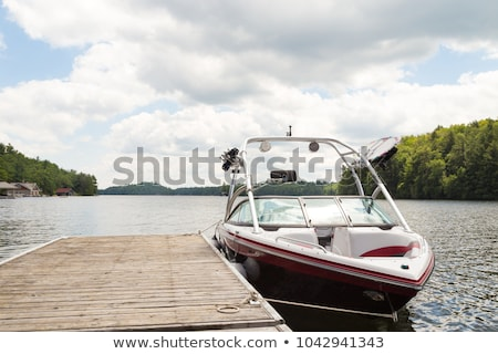 Stock photo: Blue dock for boats