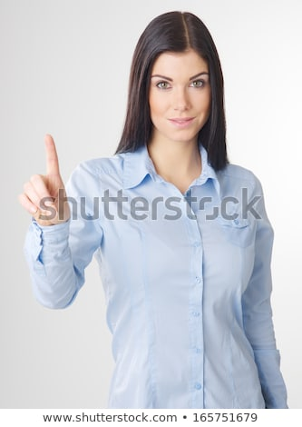 Kadın hayali düğme genç kadın el Stok fotoğraf © ra2studio