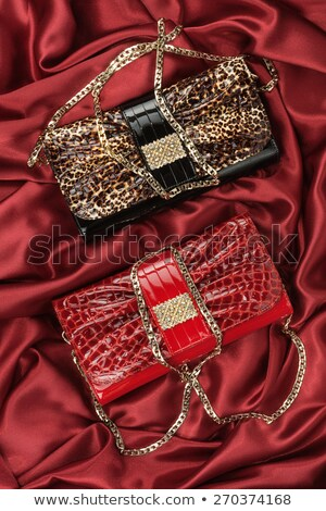 Gold chain and rhinestones lying on red fabric Stock photo © alekleks