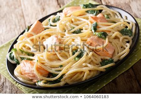 морепродуктов · пасты · свежие · спагетти · кальмар · служивший - Сток-фото © m-studio