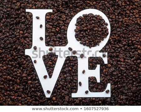 Kahve kahve fincanı kalp şekli doku grup Stok fotoğraf © saovadee