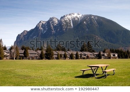 Greenbelt Picnic Table Subdivision Homes Mount Si North Bend Stock photo © cboswell