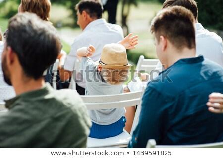 damigella · d'onore · seduta · spiaggia · cerimonia · di · nozze · ragazza · bambino - foto d'archivio © monkey_business