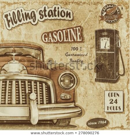retro · benzine · pompen · mondstuk · illustratie - stockfoto © ssuaphoto