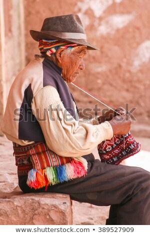 Man Peru hoed traditioneel manier Stockfoto © Hofmeester