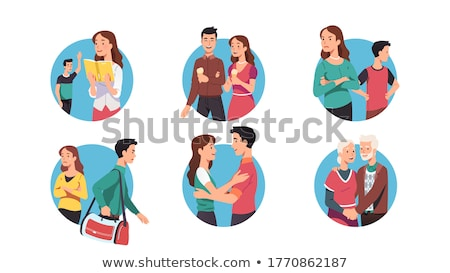 Stock photo: Young man with bag. Vector illustration