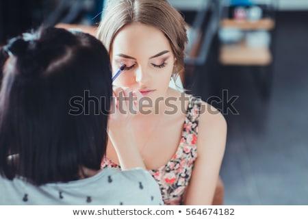 Sminkmester jelentkezik szemhéjfesték nő lány arc Stock fotó © Witthaya