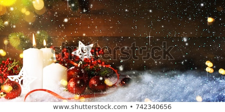 Warm gold and red Christmas candlelight background Stock photo © juniart