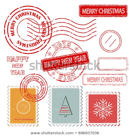 set of colorful christmas postage stamps stock photo © michalsochor