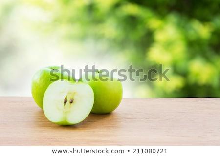 Verde manzanas mesa aire libre frescos mesa de madera Foto stock © stevanovicigor