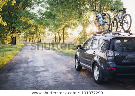 Auto fietsen bos weg zonsondergang hemel Stockfoto © Nickolya