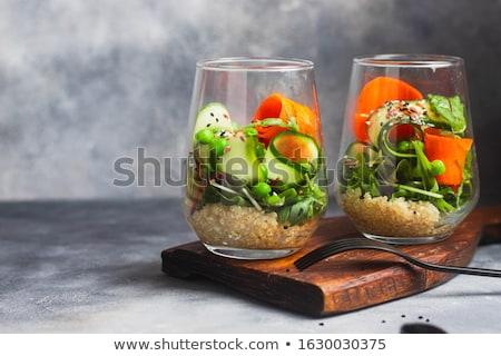 Saláta uborkák vászon mag egészséges bioélelmiszer Stock fotó © zoryanchik