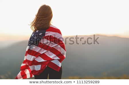 Emberek zászló Egyesült Államok Amerika izolált fehér Stock fotó © MikhailMishchenko