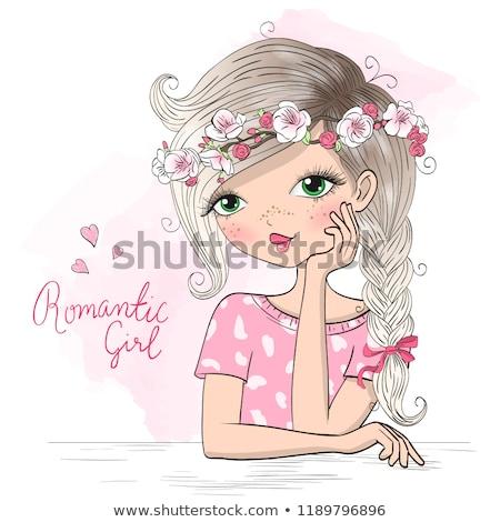 Portret mooie cute meisje sieraden permanente Stockfoto © deandrobot