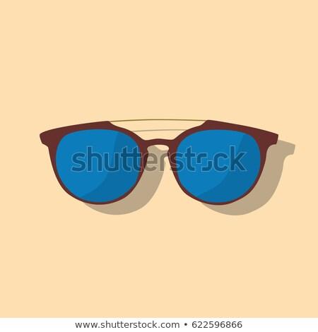 Azul vintage óculos isolado branco olho Foto stock © shutswis