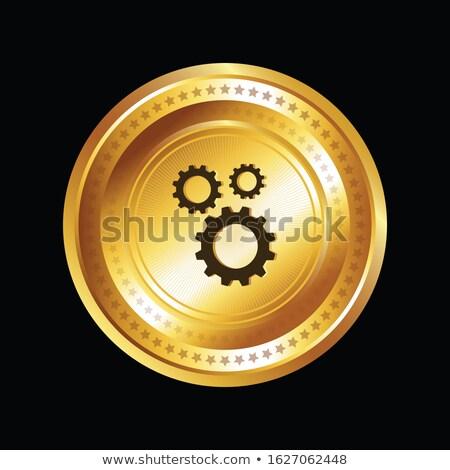 Beállítások körkörös vektor arany webes ikon gomb Stock fotó © rizwanali3d