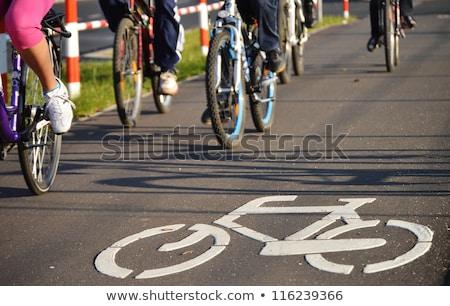 City bicycle riding on bike path Stock photo © blasbike