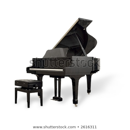 Real black grand piano isolated on white Stock photo © ozaiachin