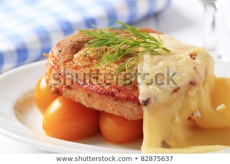 Marinált disznóhús kotlett sajt szeletek étel Stock fotó © Digifoodstock