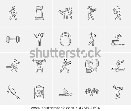 Hombre gimnasio boceto icono aparato Foto stock © RAStudio