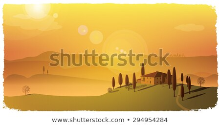 autumn sunny tuscany landscape pienza stock photo © taiga