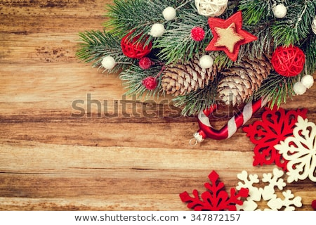 christmas background with hoarfrost on the walls stock photo © kotenko