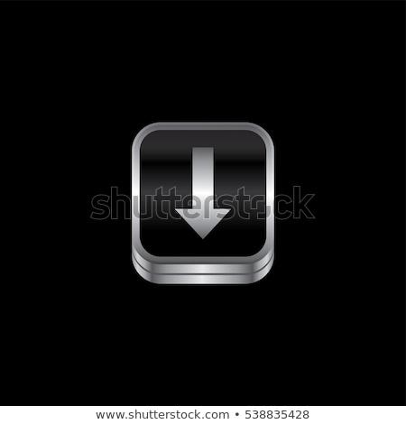 Letöltés fém tányér ikon gomb vektor Stock fotó © vector1st
