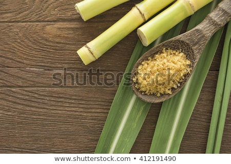 Brown cane sugar cubes in a wooden bowl Stock photo © user_11224430